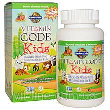 Garden of Life, Vitamin Code, для детей, жевательные цельнопищевые мультивитамины для детей, вишня