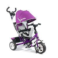 Детский велосипед с ручкой Best Trike 6588, рама из стали, подножка, корзина, тент, фиолетовый