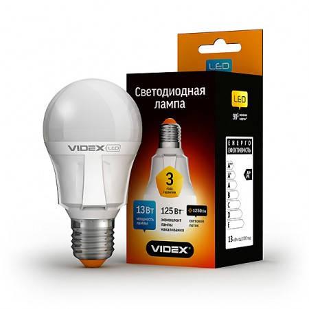 LED лампа VIDEX A60 13W E27 3000K 220V, фото 2