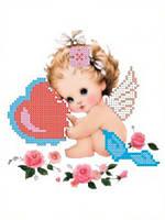 Схема для вышивки бисером Ангелок с сердечком