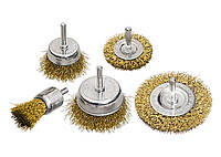 "Набор щеток для дрели, 5 шт., 2 плоские, 50-75 мм + 3 ""чашки"", 25-50-75 мм, со шпильками MTX 744929"