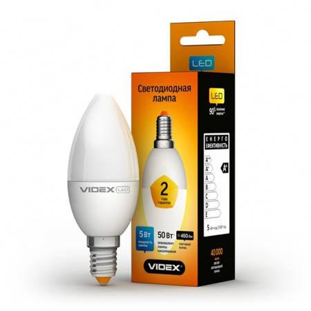 LED лампа VIDEX C37e 5W E14 3000K 220V, фото 2