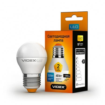 LED лампа VIDEX G45e 3.5W E27 3000K 220V, фото 2