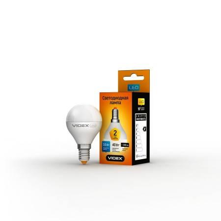 LED лампа VIDEX G45e 3.5W E14 3000K 220V, фото 2
