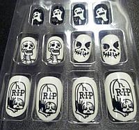 """Накладные самоклеющиеся ногти """"R.I.P"""" набор из 12 штук"""