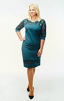 Восхитительное платье с гипюром Никола бутылочного цвета