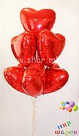 Фольгированные сердца надутые гелием