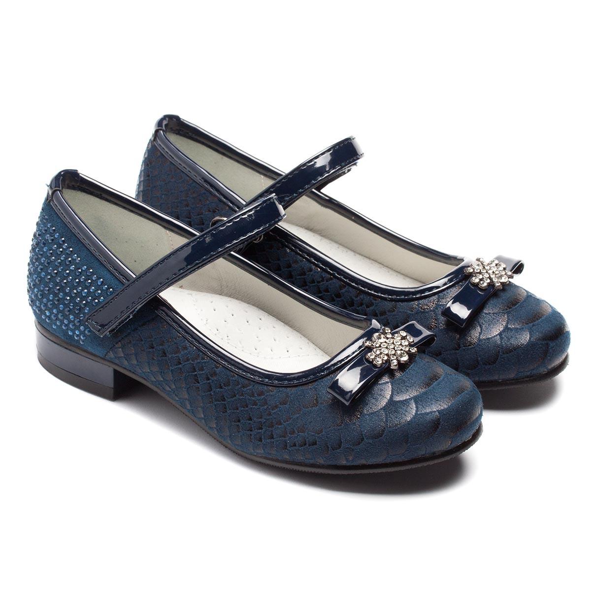 Туфли B&G на каблучке для девочки, синие, размер 28-33