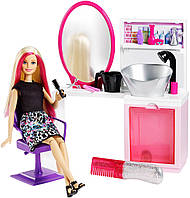 Barbie Игровой набор Барби Блестящие прически блондинка Sparkle Style Salon & Blonde Doll Playset