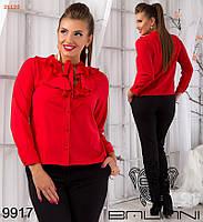Элегантная женская блуза с жабо большие размеры красная