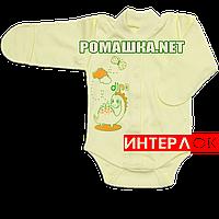 Детский боди с длинным рукавом и царапками р. 56 демисезонный ткань ИНТЕРЛОК 100% хлопок ТМ Алекс 3175 Желтый2