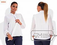 Красивая женская шифоновая блуза с жабо белая