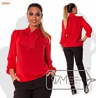 Красивая женская шифоновая блуза с жабо красная