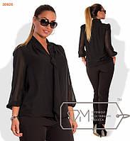 Красивая женская шифоновая блуза с жабо черная