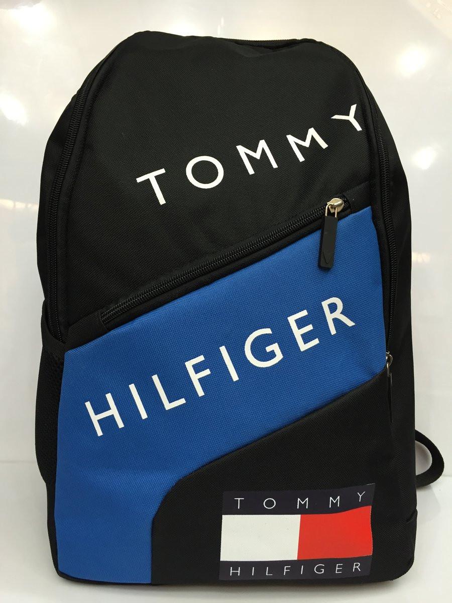 Городской стильный рюкзак Tommy Hilfiger, Тимми Хилфиджер черный с синим ( код: IBR069BZ )