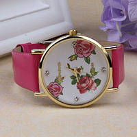 Женские часы Geneva Platinum Flower с розовым ремешком из экокожи