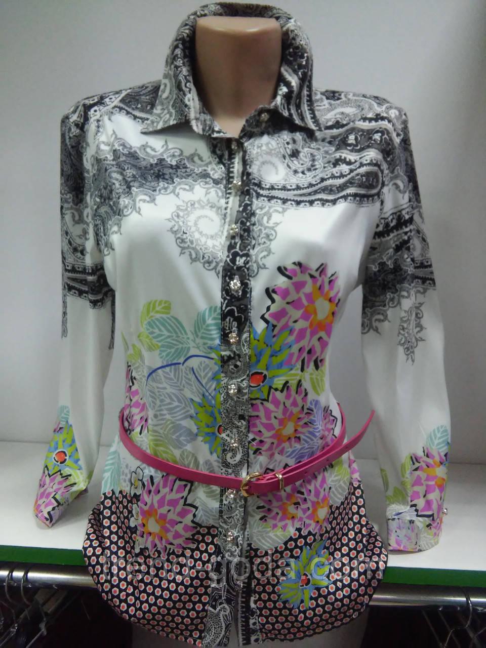 Стильная рубашка, Блуза женская, атласная, на пуговицах, с поясом, цветами, Турция