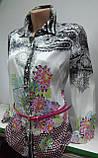 Стильная рубашка, Блуза женская, атласная, на пуговицах, с поясом, цветами, Турция, фото 2