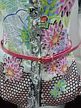 Стильная рубашка, Блуза женская, атласная, на пуговицах, с поясом, цветами, Турция, фото 4
