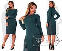 Платье женское зелёное с горошком АК/-333