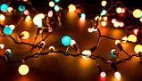 Новогодняя уличная наружная гирлянда бахрома нить дождь занавес сеть штора, новогодние уличные гирлянды, фото 3