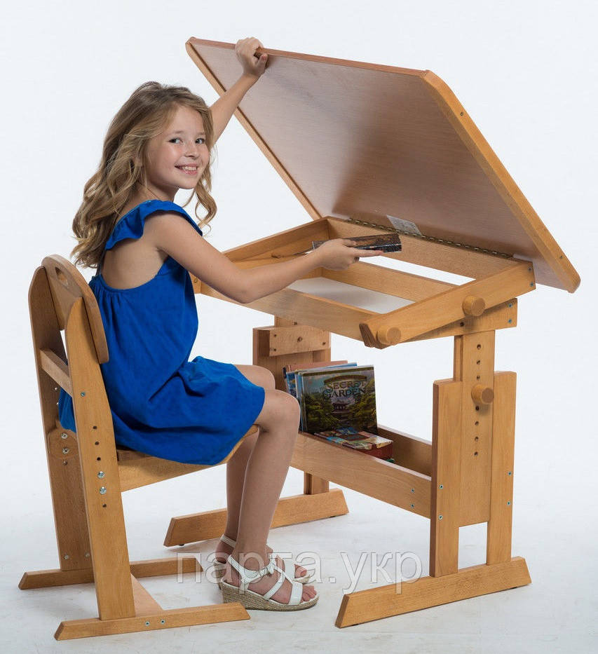 Стол для школьника  комбинированный и стул растущие, бук