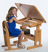 """Стол для школьника """"Розумник"""" и стул растущие, бук"""