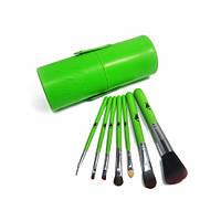 Набор кистей кисти для макияжа Look Like 7 в тубусе (Зеленые)