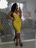 Женское шикарное силуэтное вечернее платье с кружевом и декольте
