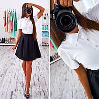 """Женское стильное классическое платье """"Школа"""" (белый верх-черный низ)"""