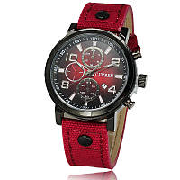 Мужские часы CURREN 8199 Black & Red на ремешке из ткани, фото 1