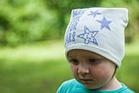 Белая трикотажная шапочка для девочки. Размер 48