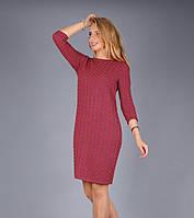 Стильное вязаное женское платье кораллового цвета