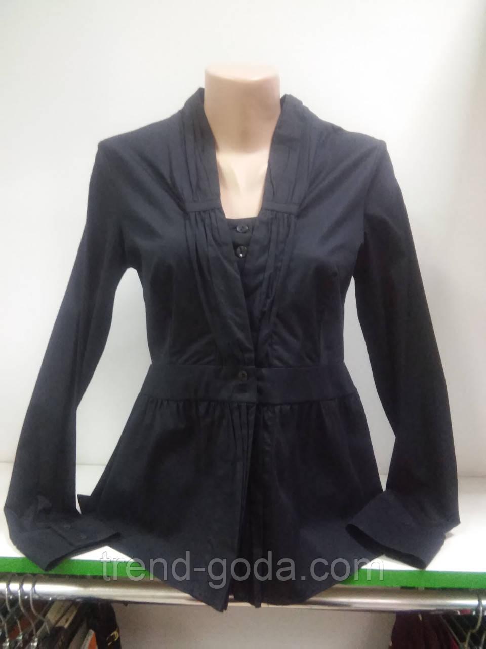 Блузка женская, Черная блуза, на пуговицах, длинный рукав, рубашечнный коттон