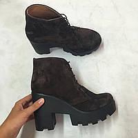 Женские осенние ботинки от TroisRois из натуральной турецкой кожи на шнурках 11, Натуральная кожа, Коричневый2