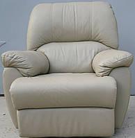 Кожаное кресло светло серое, механический реклайнер, Бесплатная доставка.