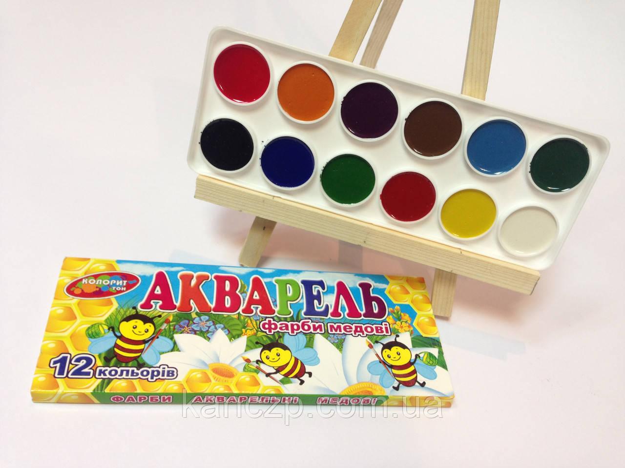 Краски акварель медовая 12цв.(картон)