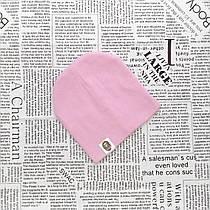 Демисезонная трикотажная шапка Варе для малышей от 2 до 5 мес.  Бледно-розовая