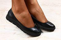 Балетки женские черные кожаные