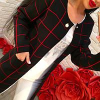 Женский стильный кардиган с карманами в клетку (2 цвета)