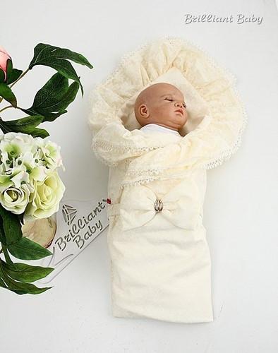 Летний конверт для новорожденных Гербера айвори