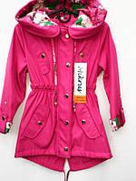 Удлиненная куртка для девочек с капюшоном 2280