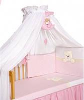 Постельный комплект Tuttolina 7 ЕД. 27 розовый-белый(морда мишки)