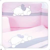 Постельный комплект Tuttolina 7 ЕД. 66 розовый-серый(кот спит)