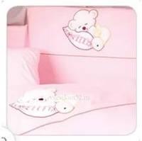 Постельный комплект Tuttolina 7 ЕД. 52 розовый(мишка на подушке)