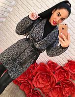 Женское стильное твидовое пальто с эко-кожей