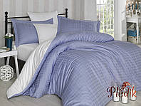 Комплект постельного белья 200х220 HOBBY Exclusive Sateen Diamond Ekose голубой/кремовий