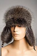 Меховая шапка Ушанка из Енота
