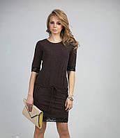 Красивое женское платье шоколадного цвета
