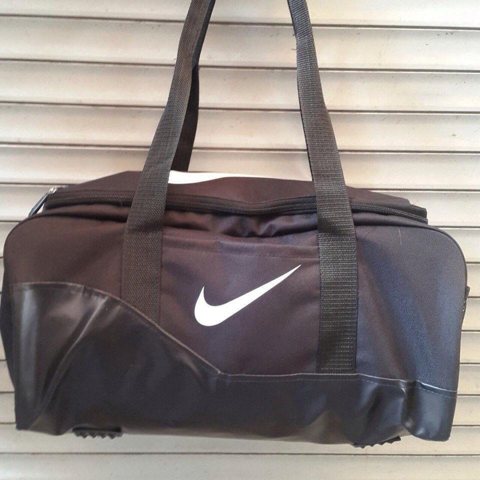 Спортивная, дорожная сумка Nike, Найк черная с искусственной кожей